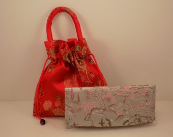 Vintage vibrant red small  weighted drawstring purse and slim wallet type clutch oriental design/fabric