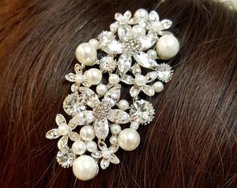 Swarovski Crystal & Pearl Headband, Special Occasion Headband, Wedding Headband, Bridal Headband, Bridal Accessory, Crystal Flower Headband