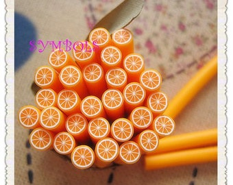 A-08 5PCS Orange Polymer Clay Cane Stick DIY Accessory