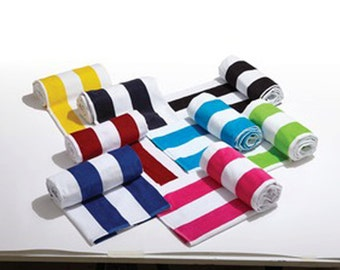 Luxurious Extra Large Monogrammed Striped or Solid Beach Towels