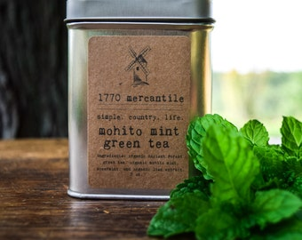 Organic Mohito Mint loose leaf Ancient Forest Green Tea 3oz tin