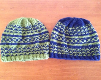 His 'n' Hers Fair Isle Knit Caps in muted SEATTLE SEAHAWKS colors