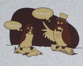 Who Whom Owl Grammar English Funny Adult Mens T-Shirt Heather Grey