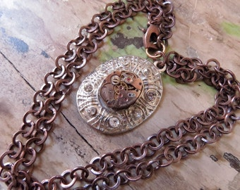 Copper Silver Pendant Necklace Hand Crafted OOAK Antiqued Copper Silver Pendant Necklace Vintage Jewelry Assemblage