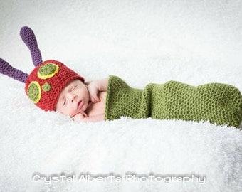 Hungry caterpillar cocoon and hat newborn - caterpillar costume - photo prop