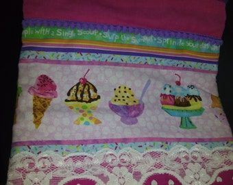 purple ice cream hand towel