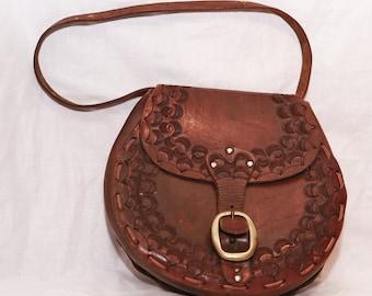 Vintage Brown Real Leather Saddle Satchel Shoulder Messenger Bag Made in England