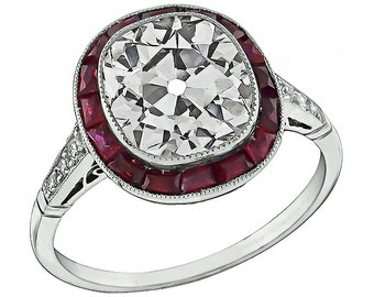 Vintage 3.56ct Diamond Ruby Engagement Ring