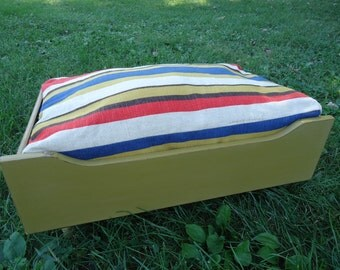 Pet Bed, Vintage Drawer, Repurposed, Up Cycled, Reclaimed, Small Dog Bed, Cat Bed, Small Pet Bed, Pet Furniture, Raised Pet Bed
