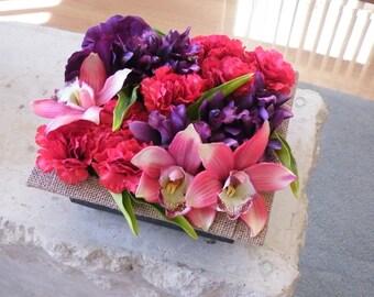 Floral Decor Coffee Table Arrangement Silk Artificial Flowers