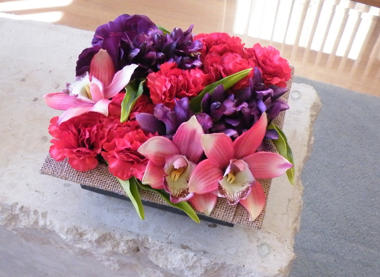 Floral Decor Coffee Table Arrangement Silk Artificial Flowers