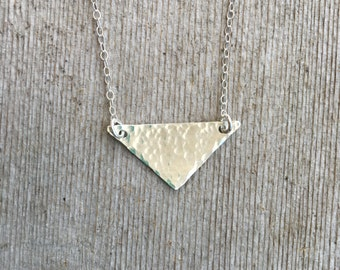 Sterling Silver Triangle Necklace - Dainty Silver Necklace - Silver Necklace - Triangle Necklace - Hammered Triangle Necklace - Minimalist