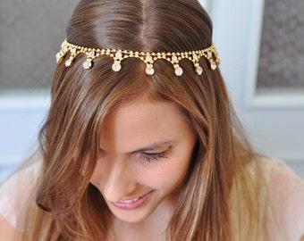Gold BRIDAL HEADBAND, Bridal GOLD Head Piece, Rhinestone gold Headband, Wedding Headband, Bridal Hair Piece, Bridal Headpiece,wave shape