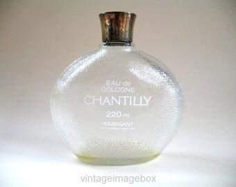 Vintage Houbigant Chantilly cologne perfume bottle, 1970s, large round stippled glass