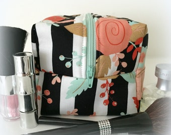 Black and White Stripe with Coral, Mint, and Gold Floral Makeup Bag, Cosmetic bag, Gift Under 20, Bridesmaid gift, Monogram Bag, Floral Bag