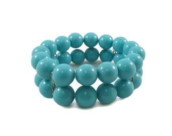 Two Strand Turquoise Beaded Bangle Bracelet