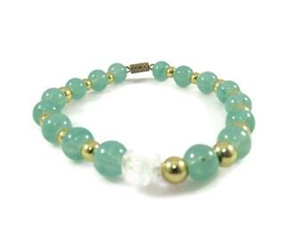 Green Beaded Bracelet with Aurora Borealis Rose Bead Accent