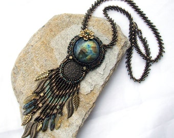 Bead Embroidery Necklace, Labradorite Necklace, Gift for Girlfriend, Turquoise Bronze, Statement Necklace, Made to order