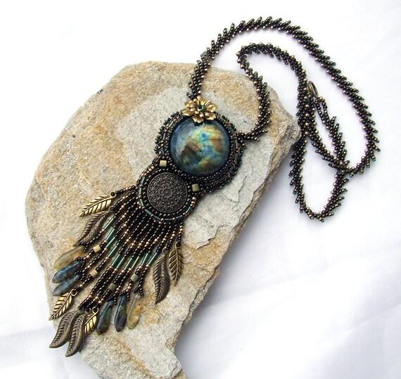Bead embroidery necklace labradorite beaded fringe