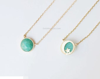 Moon and star MINT Stone Necklace, mint stone reversible necklace, gemstone necklace