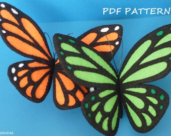 PDF pattern to make a felt Buttefly.