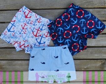 TRIPLETS Nautical Summer Shorts Set Sizes NEWBORN 0-3 mos 3-6 mos
