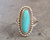 Native American Navajo Turquoise Sterling Silver Ring Size 8.75