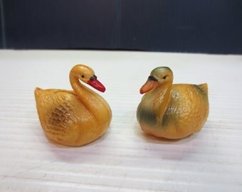 Antique Mid Century Celluloid Duck And Swan