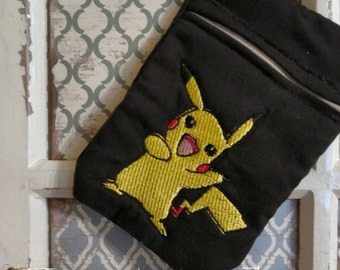 Pokeman pikachu zipper bag for pens cell phones etc