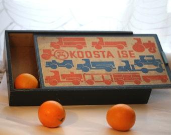 Vintage plywood box, Vintage wooden box, Old storage box, Small wooden chest, Rustic storage,  Storage box, Primitive box