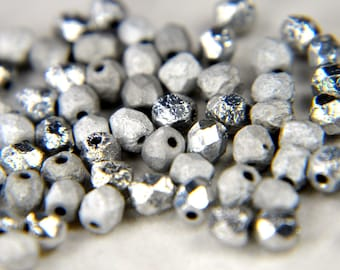 Fire polished 4mm Czech pressed glass round beads glittery silver 50 beads