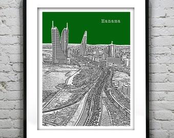 Manama Bahrain Poster Art Print Skyline