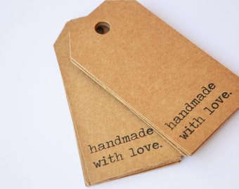 20 Tags message 'Handmade with love'