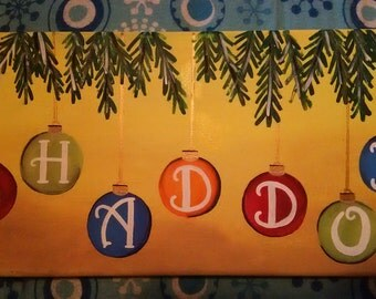 Christmas ornaments hand painted canvas