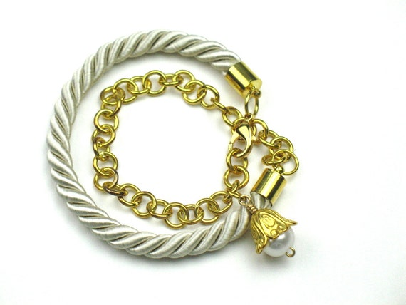 Wrap Rope Bracelet in Beige with Gold Chain and TierraCast Disc or Pearl Charm