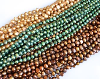 FreshWater Pearl Beads Potato/Nugget Shape Metallic Color Size Approx. 6-8mm  #F1-26