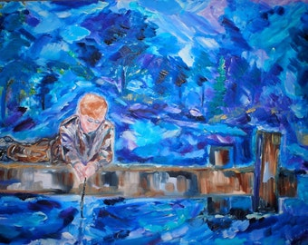 Boy In Thought Original Oil Painting 24 x 36 inch on stretched canvas by BrandanC
