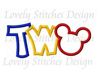 Mickey TWO Applique Machine Embroidery Design NO:0457