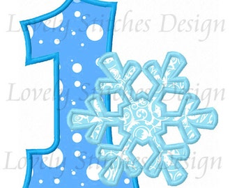 Snowflake Number 1 Applique Machine Embroidery Design NO:0478