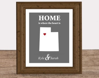 Home is where the heart is print, cotton anniversary, paper anniversary, state map canvas, bedroom wall art, housewarming gift