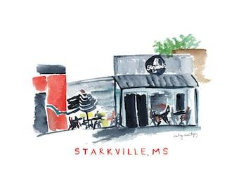 "Stromboli's Starkville Mississippi Restaurant Print   Watercolor Print   8 x 10"""