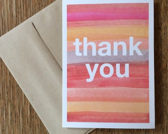 "Watercolor Greeting Card ""Thank You"" --  notecard"