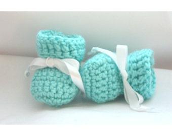 Aqua Baby Booties - Newborn Baby Booties - Crochet Aqua Booties