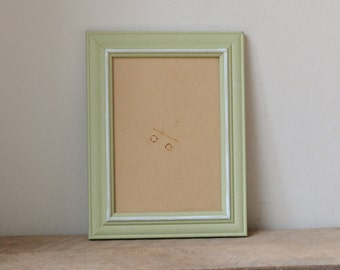Pastel Green Speckled Photo Frame with White Accents