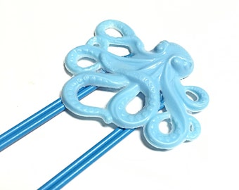 Blue octopus jumbo paperclip bookmark