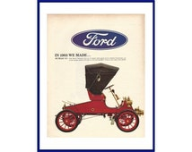 FORD AUTOMOBILES Original 1966 Vintage Extra Large Print Ad - Red 1903 Model A Car