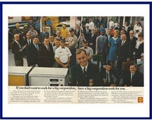 """SHELL Original 1968 Vintage Extra Large Print Ad - """"If You Don't Want To Work For A Big Corporation, Have A Big Corporation Work For You."""""""