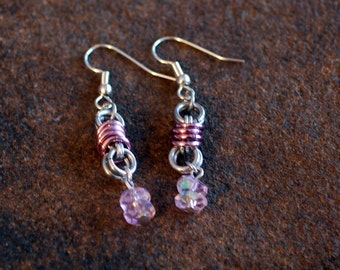 Silver and Pink Dangle Earrings with Pink Glass Rondelle Beads