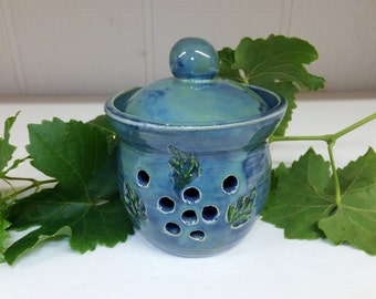 Ocean Blue Garlic Keeper with Carved Leaves, Garlic Jar, Luminary
