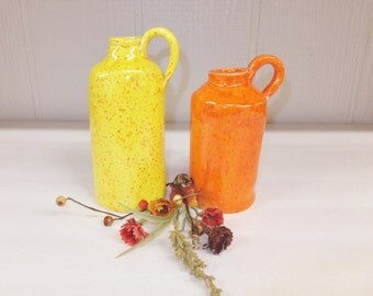 Orange or Yellow Rustic Corked Ceramic Bottle